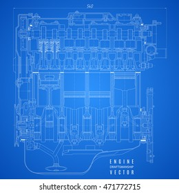 Engine blueprint images stock photos vectors shutterstock blueprint engine project technical drawing on the blue background stock vector illustration eps10 malvernweather Choice Image