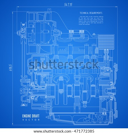 Blueprint engine project technical drawing on stock vector royalty blueprint engine project technical drawing on the blue background stock vector illustration eps10 malvernweather Image collections