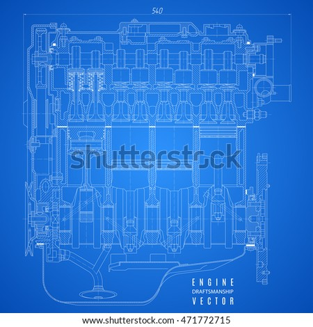 blueprint engine project technical drawing on stock vector royalty rh shutterstock com