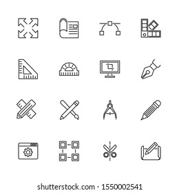 Blueprint, Engineering outline icons set - Black symbol on white background. Blueprint, Engineering Simple Illustration Symbol - lined simplicity Sign. Flat Vector thin line Icon - editable stroke