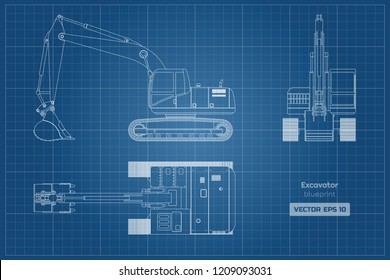 Blueprint of excavator on white background. Top, side and front view. Diesel digger. Hydraulic machinery image. Industrial document