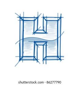 Blueprint font sketch - letter H - marker drawing