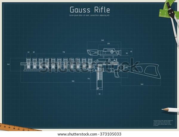 Blueprint Gauss Rifle Vector Illustration Fantastic Stock
