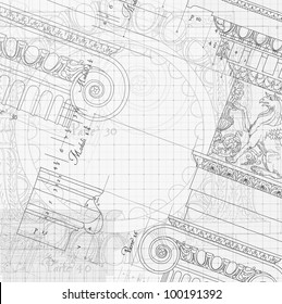 Blueprint hand draw sketch ionic architectural vector de blueprint hand draw sketch ionic architectural order based the five orders of architecture malvernweather Images