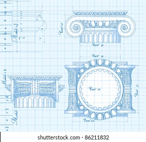 Blueprint hand draw sketch ionic architectural stock illustration blueprint hand draw sketch ionic architectural order based the five orders of architecture malvernweather Image collections
