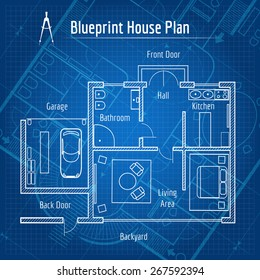 Blueprint House Plan. Design Architecture Home, Drawing Structure And Plan.  Vector Illustration