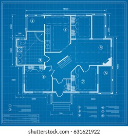 Blueprint house plan drawing. Figure of the jotting sketch of the construction and the industrial skeleton of the structure  and dimensions