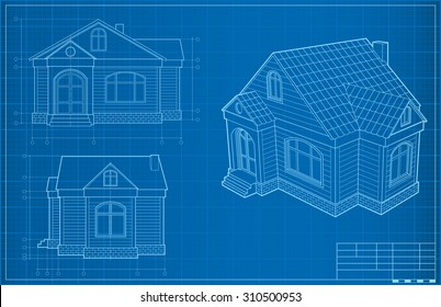 Blueprint House. Vector Illustration. Amazing Design