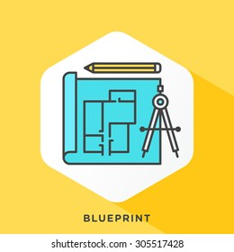 Blueprint icon with dark grey outline and offset flat colors.
