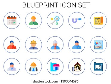 blueprint icon set. 15 flat blueprint icons.  Collection Of - planning, engineering, engineer, construction, architecture, micrometer, real estate