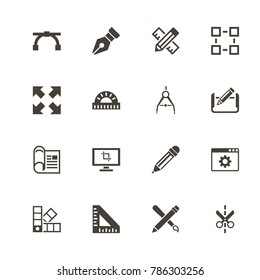 Blueprint icons. Perfect black pictogram on white background. Flat simple vector icon.