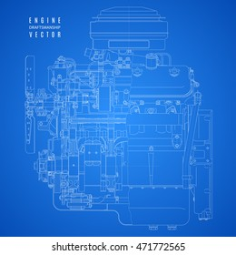blueprint of internal combustion engine in sectional view, technical drawing of the project on a blue background. stock vector illustration