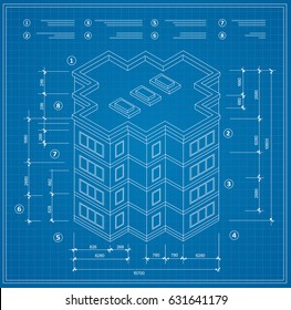 Blueprint isometric plan of a residential building. Drawing of the jotting sketch of the construction and the industrial skeleton of the structure and dimensions