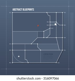 Blueprint layout with abstract element. EPS vector template