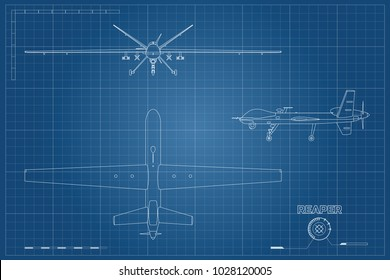 Blueprint of military drone in outline style. Top, front and side view. Army aircraft for intelligence and attack. Industrial isolated drawing. Vector illustration