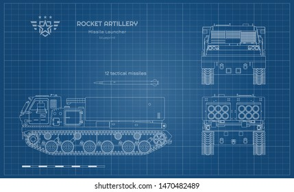 Blueprint of missile vehicle. Rocket artillery. Side, front and back view. Drawing of military tractor with jet weapon. Camouflage tank. Vector illustration
