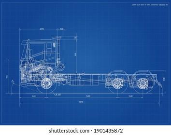Blueprint modern truck. Realistic performance. Vector format EPS 10