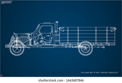 Blueprint old Truck. Parts Layout. Vector