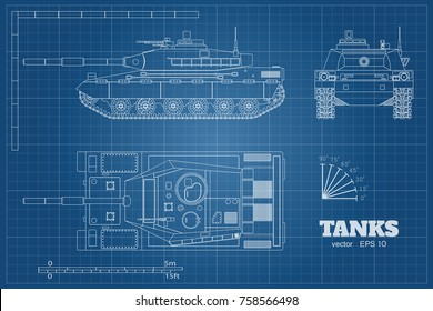 Blueprint of realistic tank. Top, front and side view. Detailed armored car. Industrial drawing. War vehicle in outline style. Vector illustration