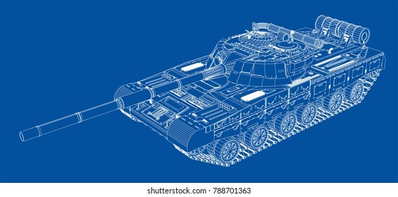 Blueprint of realistic tank. Vector EPS10 format, rendering of 3d