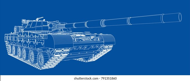Blueprint of realistic tank. Vector EPS10 format, rendering of 3d