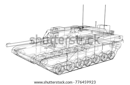 Blueprint Realistic Tank Vector Eps 10 Format Stock Vector Royalty