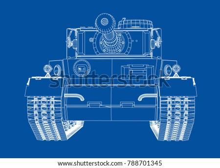 Blueprint Realistic Tank Vector Eps 10 Format Stock Vector Royalty