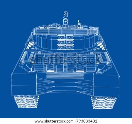Blueprint Realistic Tank Vector Eps 10 Format Stock Vektorgrafik
