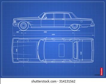 Blueprint retro car. Vector illustration eps 10