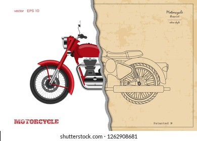 Blueprint of retro classic motorcycle in outline style. Side view. Industrial drawing of vintage motorbike. Vector illustration