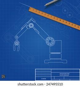 Blueprint robot arm, vector illustration eps 10