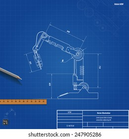 Robot blueprint images stock photos vectors shutterstock blueprint robotic arm vector illustration eps 10 malvernweather Images
