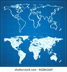 Blueprint australia images stock photos vectors shutterstock blueprint sketch of hand drawn world map world map plan in two variants outlined malvernweather Images