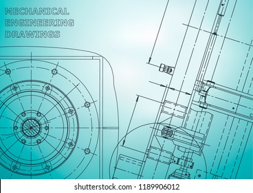 Blueprint, Sketch. Vector engineering illustration. Cover, flyer, banner, background. Instrument-making drawings. Mechanical engineering drawing. Light blue