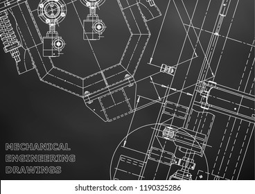 Blueprint, Sketch. Vector engineering illustration. Cover, flyer, banner, background. Instrument-making drawings. Mechanical engineering drawing. Technical illustrations, Black background. Scheme