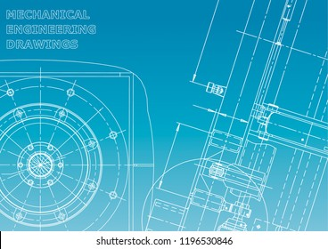 Blueprint, Sketch. Vector engineering illustration. Cover, flyer, banner, background. Instrument-making drawings. Mechanical engineering drawing. Blue and white