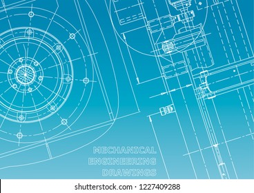 Blueprint, Sketch. Vector engineering illustration. Cover, flyer. Blue and white