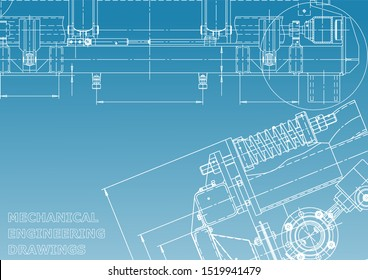 Blueprint, Sketch. Vector engineering illustration. Cover, flyer, banner, background. Instrument-making drawings