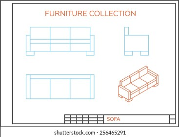 Blueprint Sofa Vector Front View Top Stock Vector Royalty Free