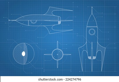 blueprint with spaceship