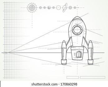 blueprint with spaceship scheme and planets - vector illustration