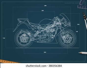Blueprint sport bike vector part divided stock vector royalty free blueprint sport bike vector part divided into groups malvernweather Gallery