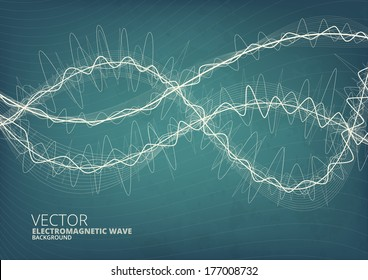 Blueprint style green radio waves vector background