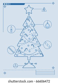 Blueprint style instructions for decorating a Christmas tree