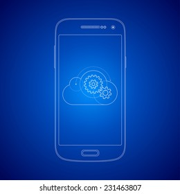 Blueprint style mobile smart phone cloud computing illustration concept. Gears in the cloud.