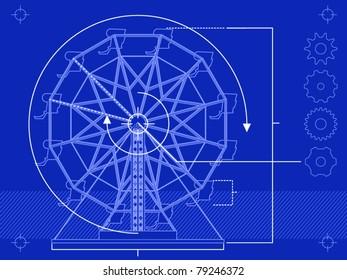 Blueprint style rendering of a ferris wheel