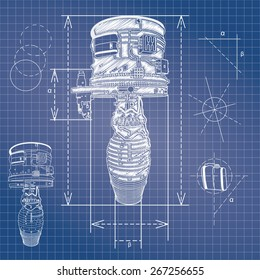 Engine blueprint images stock photos vectors shutterstock blueprint style vector outline airplane engine plan malvernweather Images