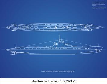 Blueprint submarine.