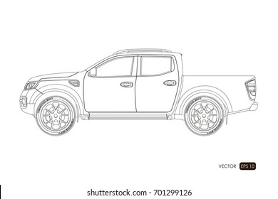 Blueprint of SUV. Contour drawing of car on a white background. Side view of pickup. The vehicle in outline style. Vector illustration