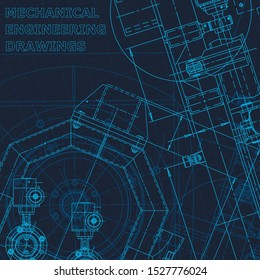 Blueprint. Technical cyberspace, backgrounds. Machine-building industry